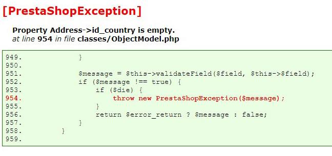 error prestashop property empty country